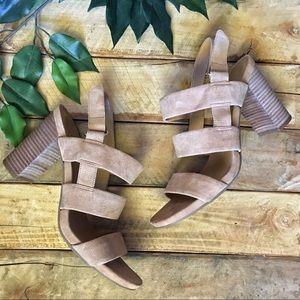 Franco Sarto Leather Jena Block Heeled Sandals